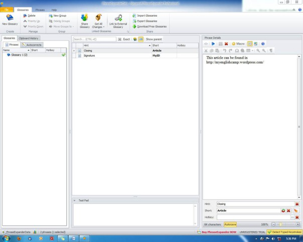 PhraseExpander Main Windows
