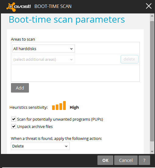 boot time scan in avast